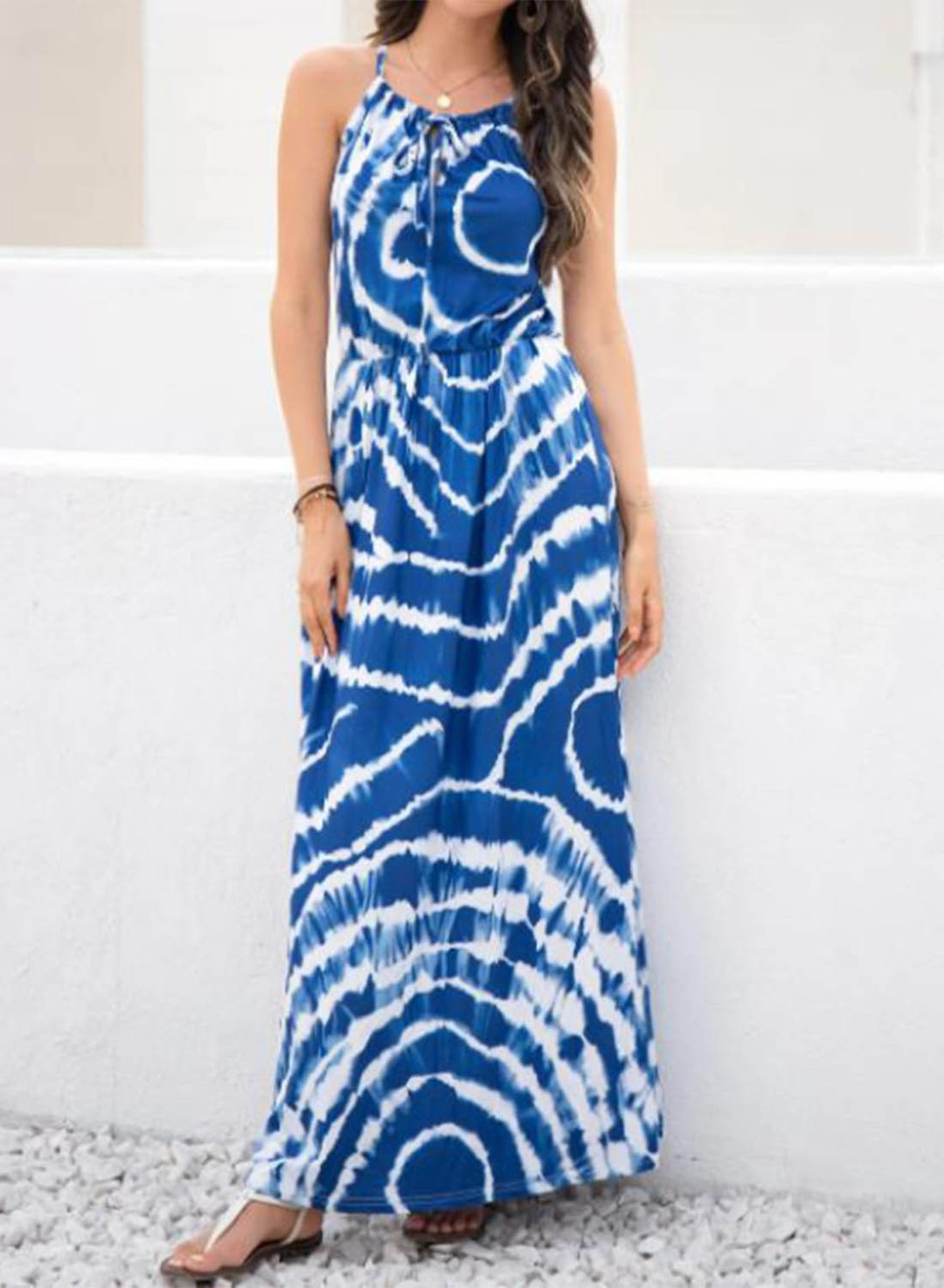 Blue Women's Dress Tiedye A-line Halter Sleeveless Summer Vacation Beach Boho Maxi Dress LC42516-5