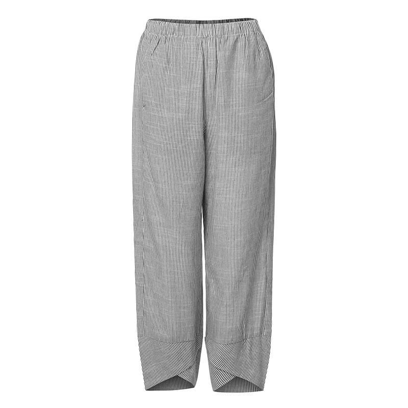 Women S Casual Striped Harem Pants 2021 Zanzea Vintage Elastic Waist Trousers Asymmetrical Pantalon Woman Palazzo Plus Size 5xl