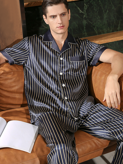 22 Momme Lurury Stripped Silk Pajamas Set For Men 、Real Silk Life