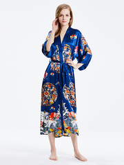 19 Momme Blue Traditional Printed Kimono Style Loose Silk Robes、Real Silk Life