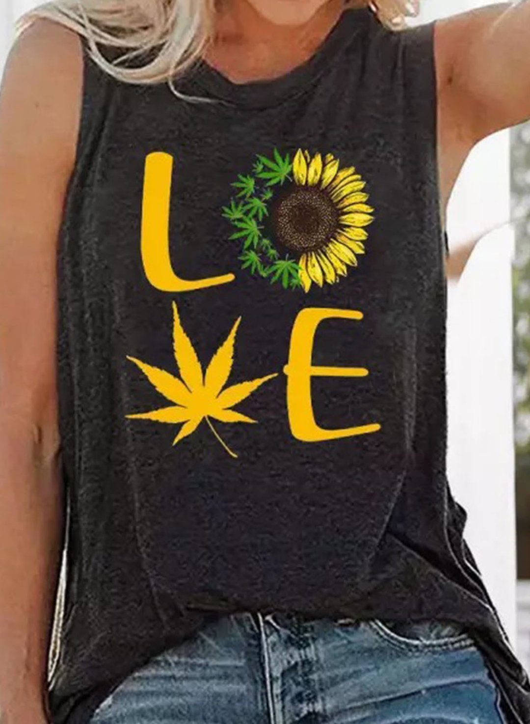 Black Women's Tank Tops Sunflower Letter Top LC2561770-2