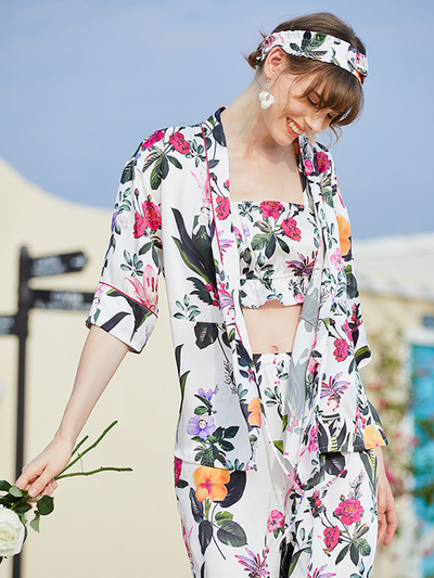 Floral Printed Silk Pajamas Set|4pcs、Real Silk Life