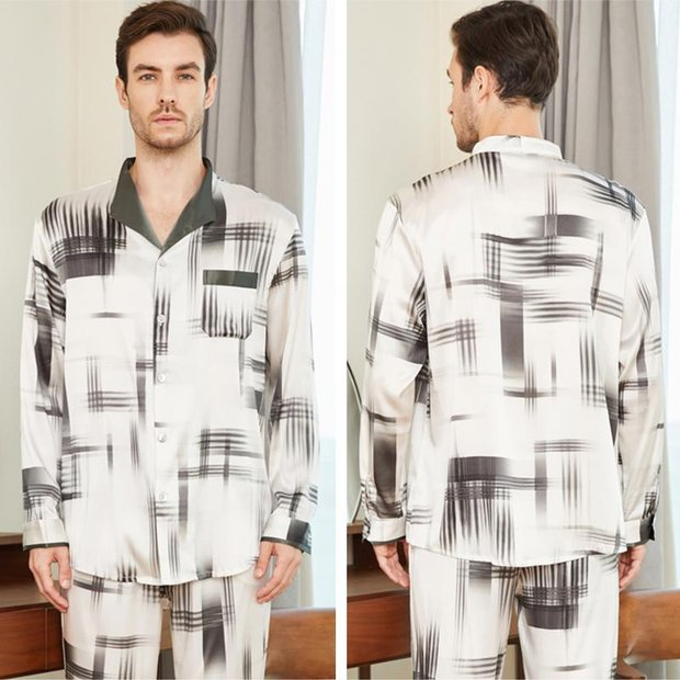 22 Momme High Quality Fashion Pure Silk Pajamas Set For Men、Real Silk Life
