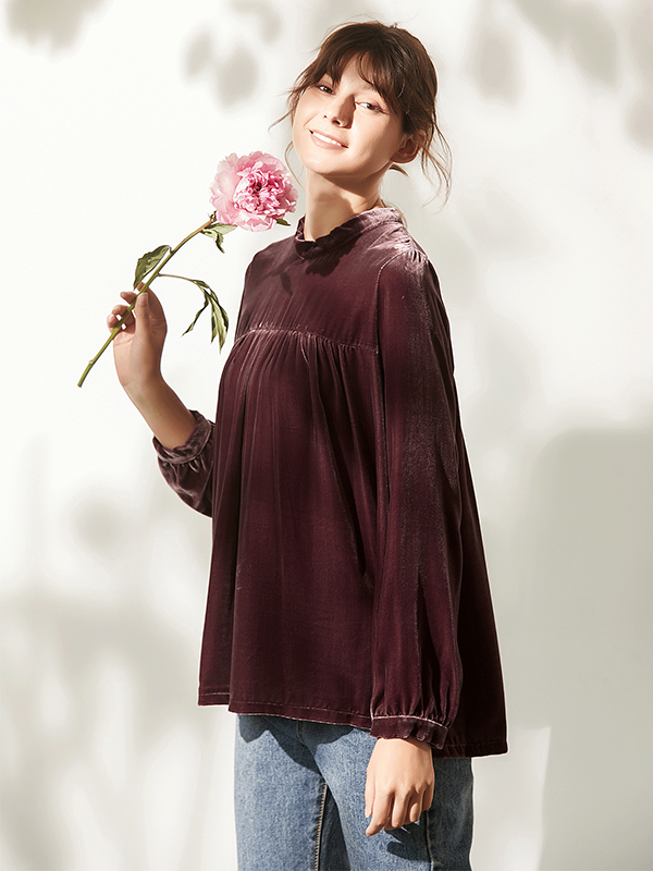Pure Color Long Sleeves Silk Velvet T-shirt For Women、Real Silk Life
