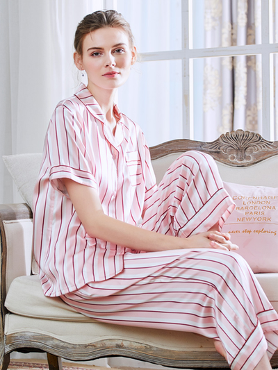 19 Momme Silk Short Sleeves Pink Stripes pajamas Set、Real Silk Life