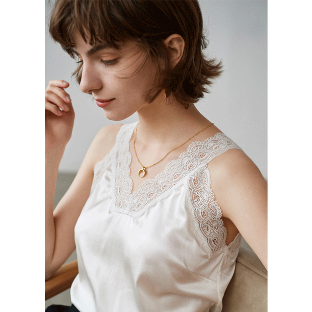 White Lace V-neck Silk Camisoles、Real Silk Life