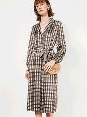 Plaid V-neck Silk Dress、Real Silk Life