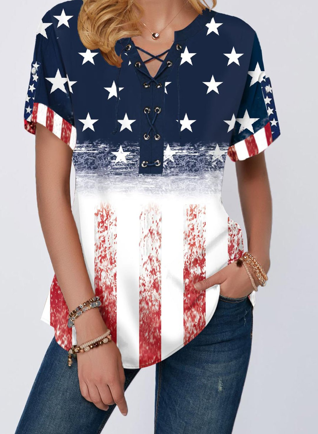 Blue Women's T-shirts Flag Short Sleeve V Neck Daily Basic Tunic T-shirt LC2524987-5