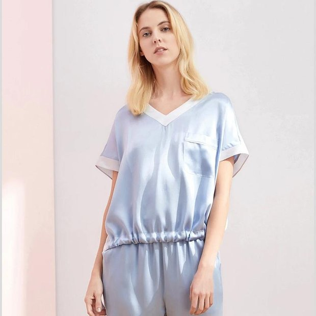 19 Momme Loose Lifestyle Long Silk Pajamas Set、Real Silk Life