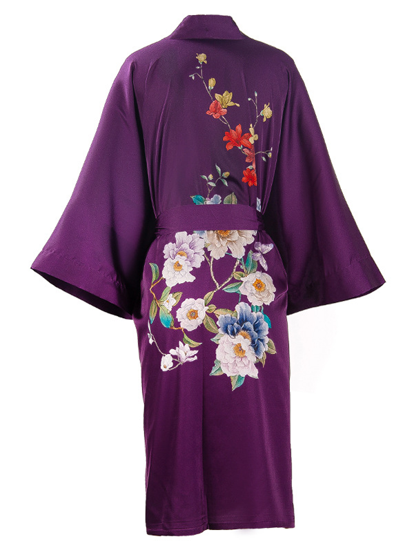 19 Momme Purple Floral Kimono Style Loose Silk Robes、Real Silk Life