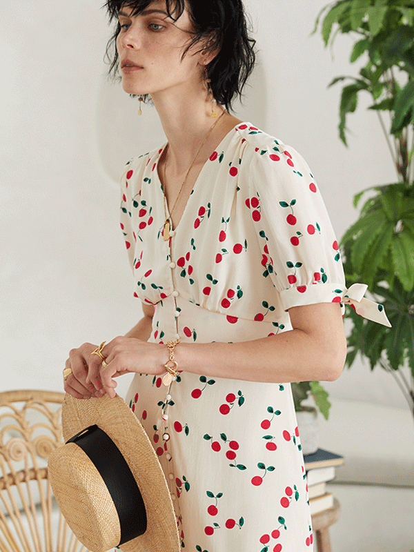 Cherry Printed Silk Dress、Real Silk Life