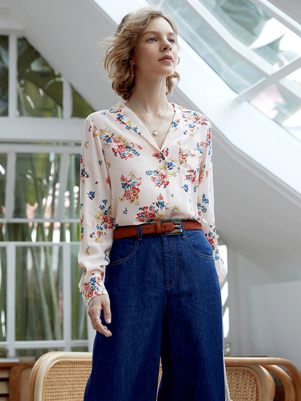 Classic French Design Flora Silk Shirt、Real Silk Life