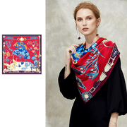 Red Printed Silk Scarf 1021180321 106*106、REAL SILK LIFE