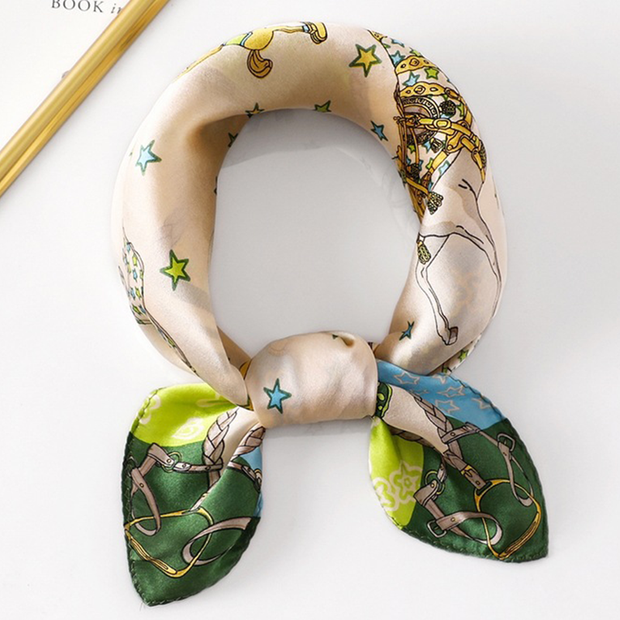 19 Momme Charming Printed Silk Scarves、REAL SILK LIFE