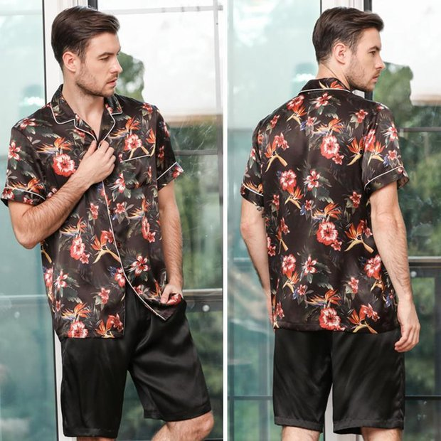 22 Momme High Quality Black Flower Printed Life Style Silk Pajamas Set For Men、Real Silk Life