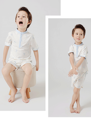 55% Mulberry Silk Plain Color Silk Lungewear For Boys、REAL SILK LIFE