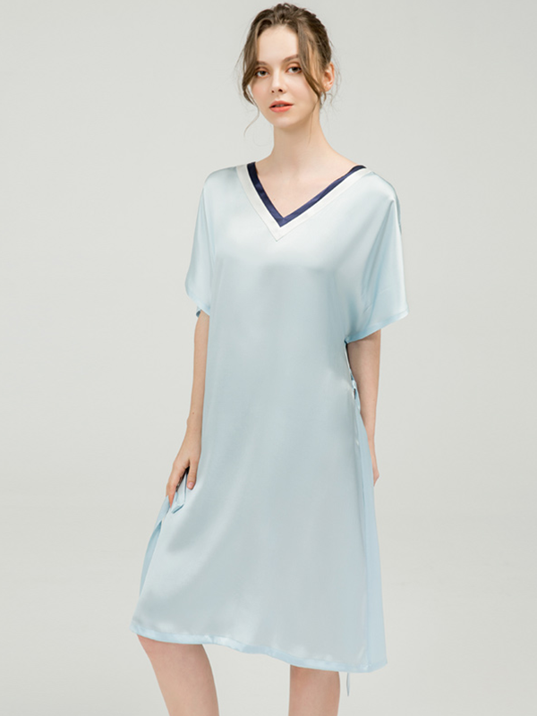 19 Momme Neat Pleated Neckline Silk Nightgown | Multi-Colors Selected Plus Size、Real Silk Life