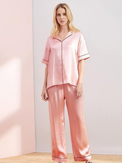 19 Momme Classic Middle Sleeves Silk Pajamas Set、Real Silk Life
