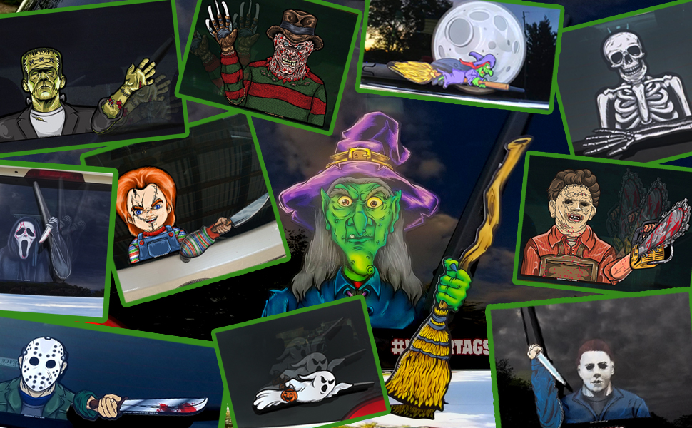 halloween wipertags wiper wipers witch jason chuckey myers michael freddy decal sticker car chainsaw