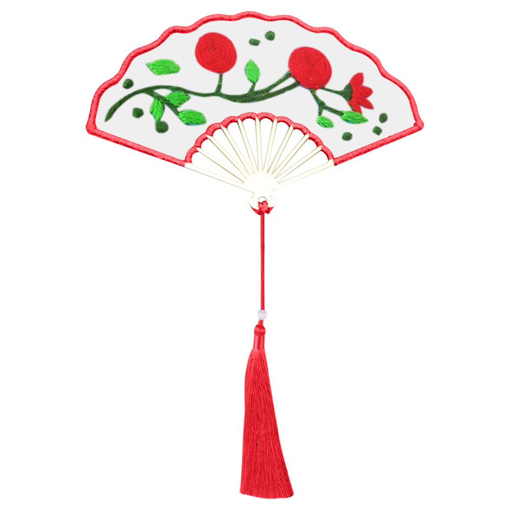Red Flower - Fan Shaped Bookmark Embroidery - Cross Stitch, 501 Original
