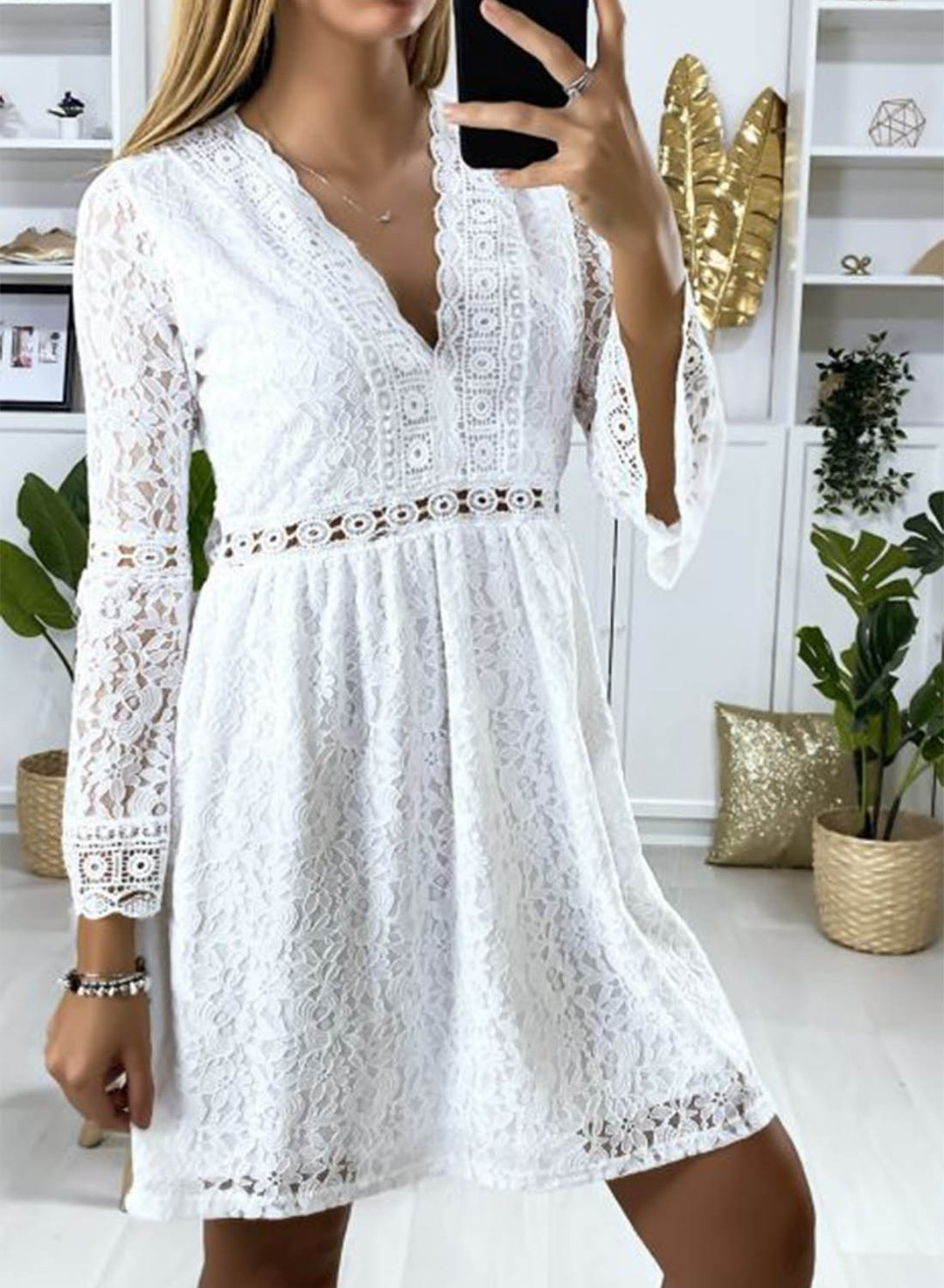 White Women's Mini Dress Solid Floral Lace Fit & Flare Long Sleeve V Neck Summer Daily Sexy Mini Dress LC225848-1
