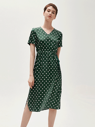 White Dot Green Silk Dress、Real Silk Life