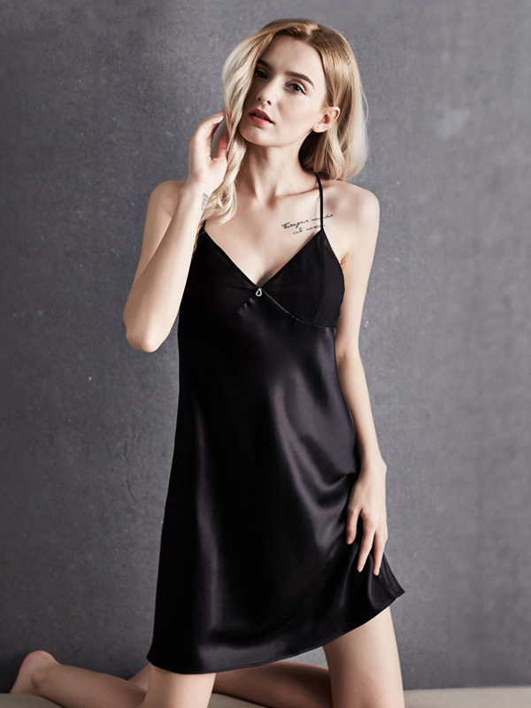 19 Momme Elegant Silk Nightgown  (Multi-Color Selected)、Real Silk Life