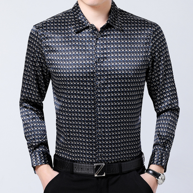 Fitted Long Sleeves Silk Shirt With Lattice Pattern、Real Silk Life