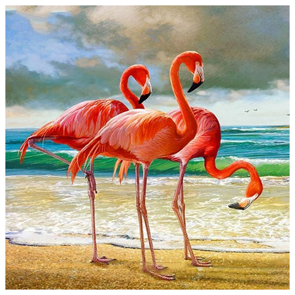 Peggybuy coupon: Flamingos - 14CT Stamped Cross Stitch - 40*40CM