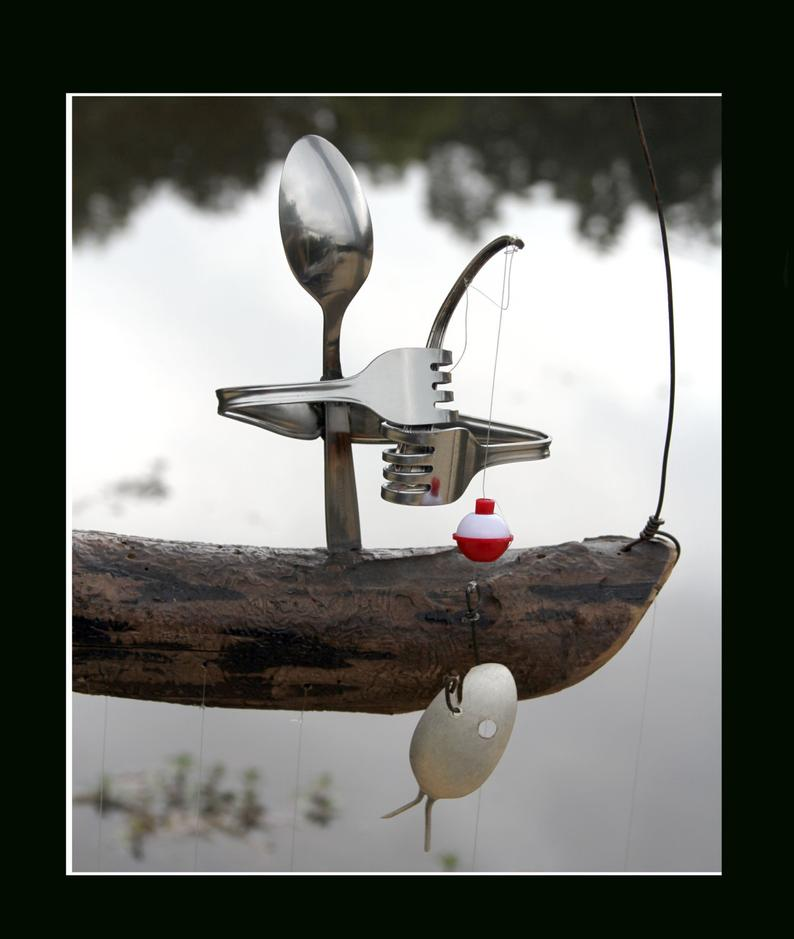 Fisherman And Spoon Fish Wind Chime  Holiday Garden Art image 3