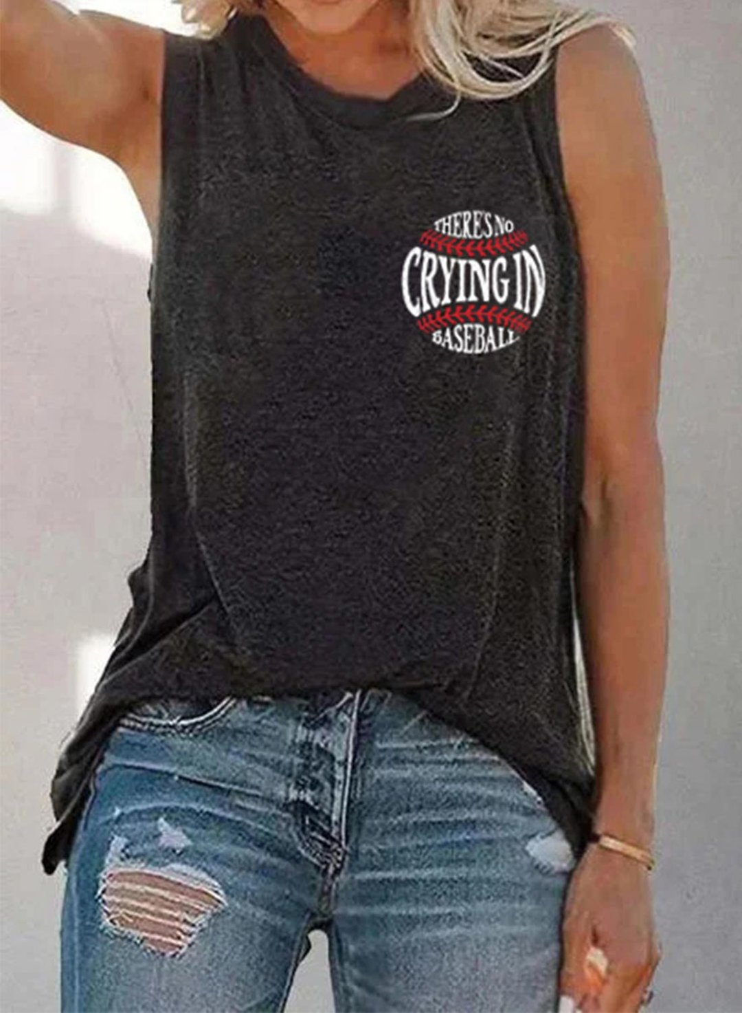 Black Women's Tank Tops Letter Solid Tank Tops LC2561958-2
