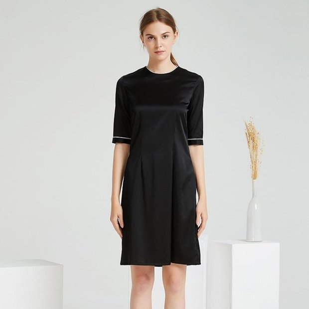 Luxury Black Round Neck Silk Dress、Real Silk Life