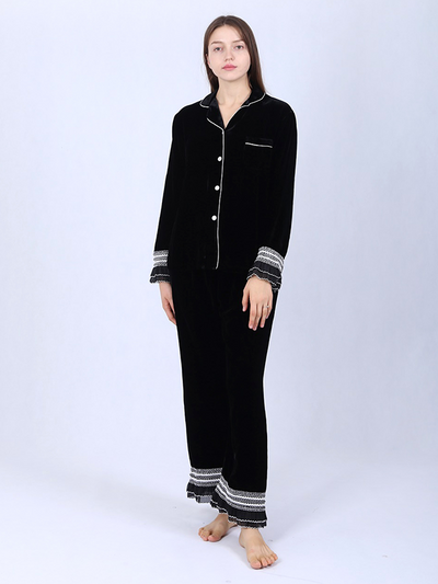 Silk Velvet Pajamas For Women With Contrast Lace Trim、Real Silk Life