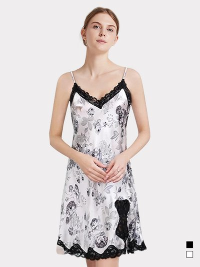 19 Momme Women's Painting Silk Nightgown White、REAL SILK LIFE