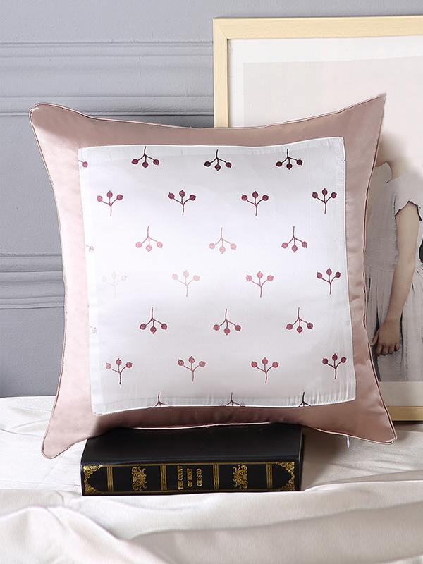 Cherry Printed Decorative Silk Cushion European Pillowcase、RealSilkLife