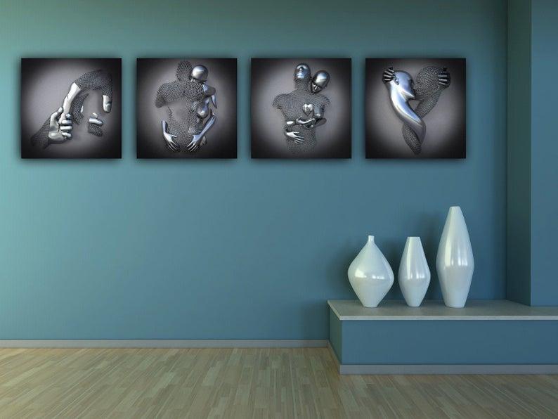 Set of 4 Modern Home Decor Canvas Art Print Canvas Pictures image 1