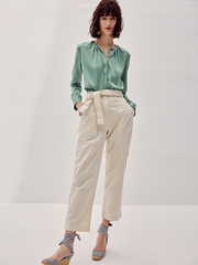 Neat Green Silk Blouse、Real Silk Life