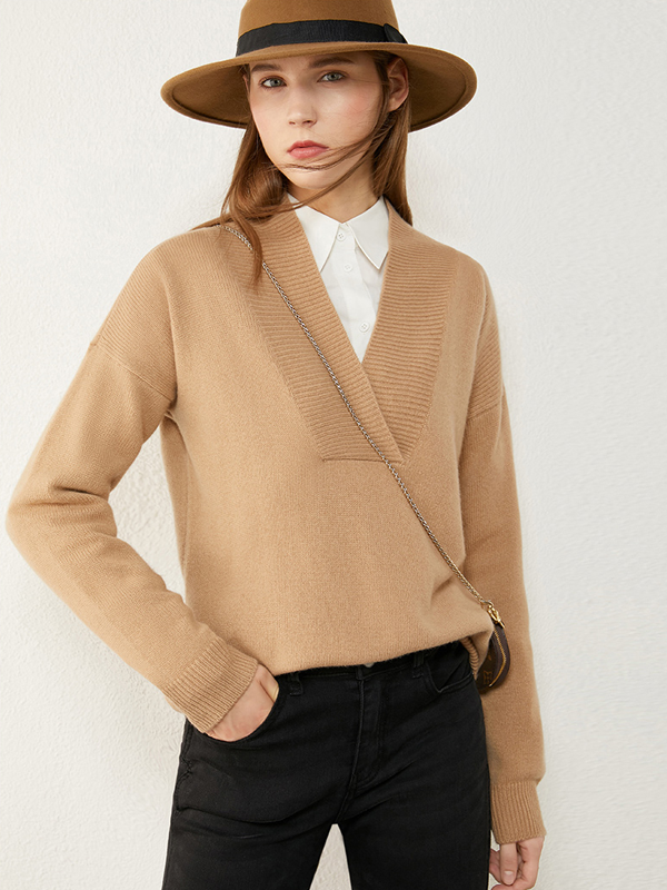 Fashion Pullover V Neck Wool-Cashmere Blend Shirt|Multi-Colors Selected、Real Silk Life