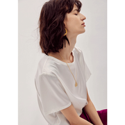 Basic Casual Round Neck Silk Tee 丨 Multi Colors Selected、Real Silk Life