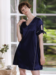 Elegant  Navy Blue Short Sleeves Silk Nightgown、Real Silk Life