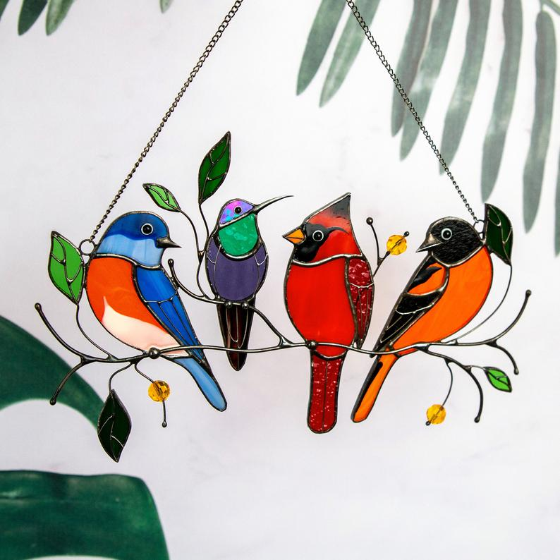 Birds stained glass window hangings Mothers Day gift Stained 4 birds