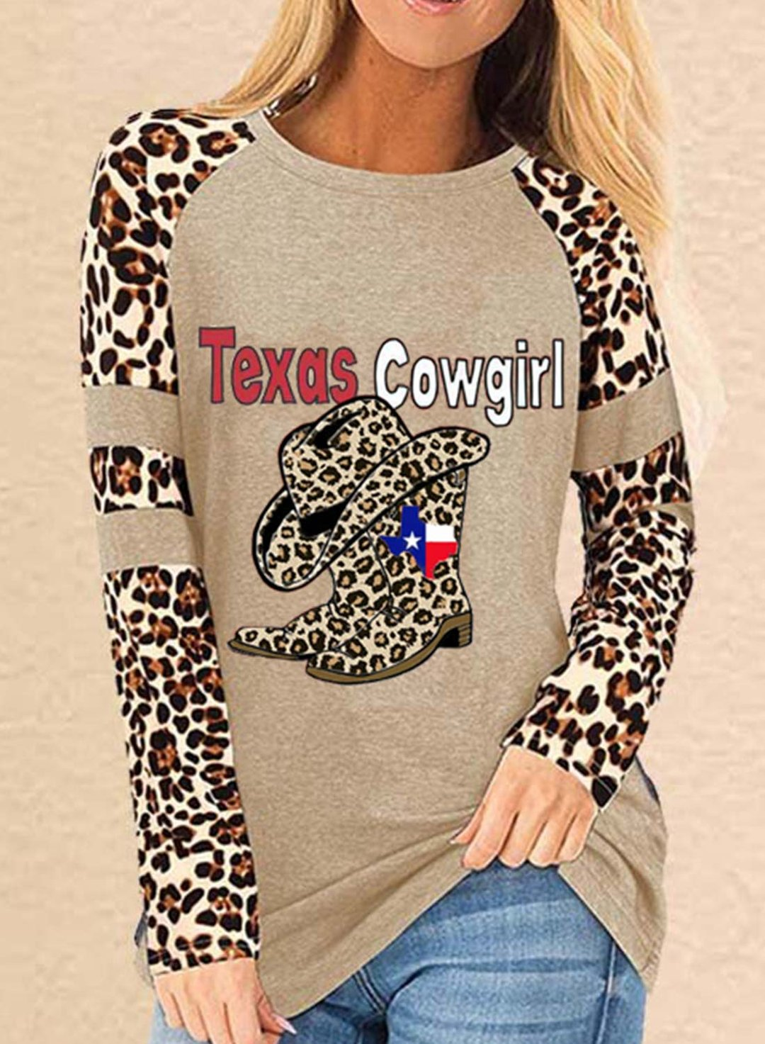 Khaki Women's Pullovers Leopard Letter Flag Color Block Long Sleeve Round Neck Casual Pullovers LC2516451-16