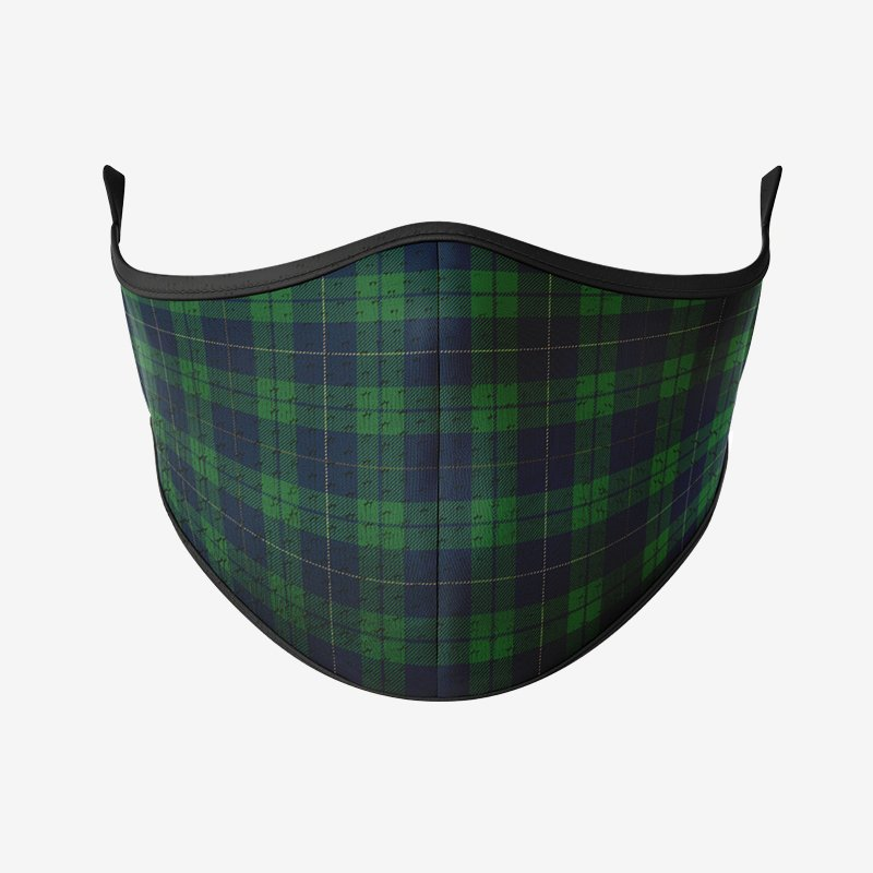 Green Grid Pattern Reusable Face Mask-Maskup