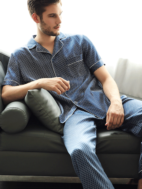 Short Sleeves Classic Plaid Silk Pajamas Set For Men、Real Silk Life