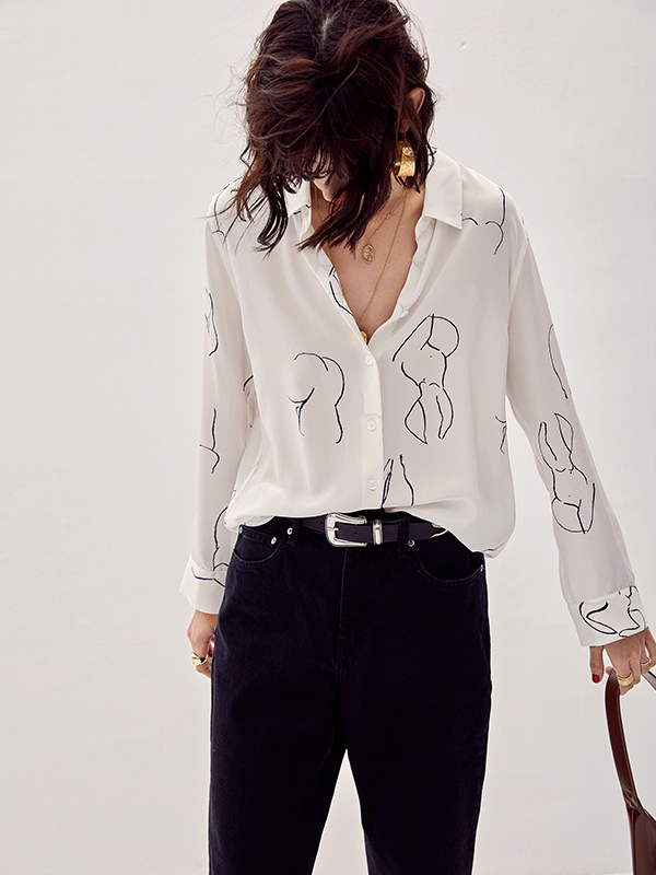 Artful Curve Printed Silk Shirt、Real Silk Life