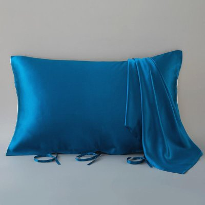 Lace-up Silk Travel Pillow Cover-19 Momme-Queen Size、REAL SILK LIFE