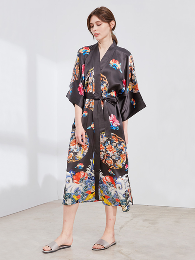 25 Momme Black Kimono Flower Silk Robe、Real Silk Life