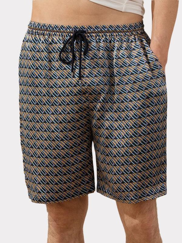 22 Momme Luxury Printed Silk Short Pant For Men | Could Be Worn Outside、REAL SILK LIFE