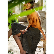 Franch Design White Dot Silk Skirt、Real Silk Life