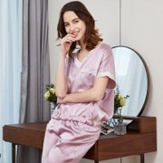 22 Momme Franch 2020 Collection V Neck Silk Pajamas Set、REAL SILK LIFE